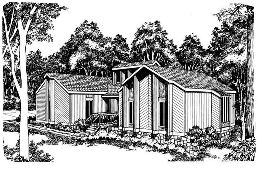 Front elevation of Contemporary home (ThePlanCollection: House Plan #137-1030)