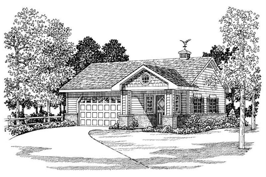 Front elevation of Garage home (ThePlanCollection: House Plan #137-1034)