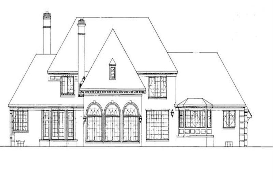 Home Plan Rear Elevation of this 5-Bedroom,4648 Sq Ft Plan -137-1035