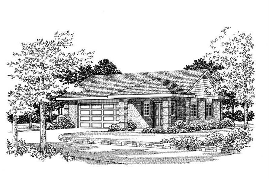 1-Bedroom, 861 Sq Ft Garage House Plan - 137-1036 - Front Exterior