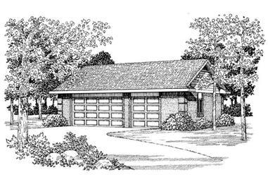 2-Car, 876 Sq Ft Woodshop Garage Plan - 137-1042 - Front Exterior