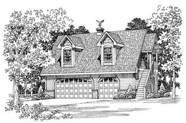 1-Bedroom, 1590 Sq Ft Garage Home Plan - 137-1043 - Main Exterior