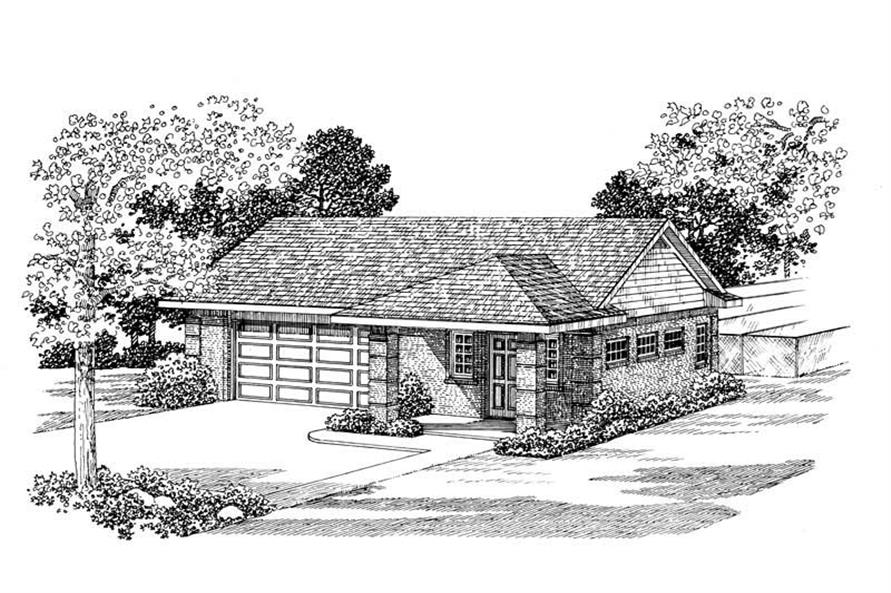 1-Bedroom, 861 Sq Ft Garage Home Plan - 137-1044 - Main Exterior