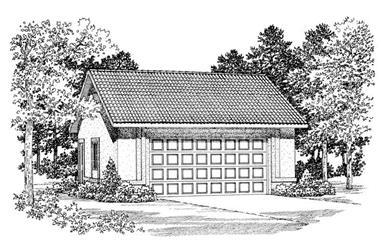 1-Bedroom, 600 Sq Ft Garage Home Plan - 137-1045 - Main Exterior