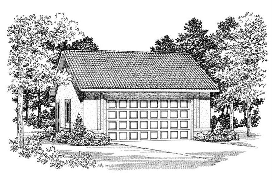 1-Bedroom, 600 Sq Ft Garage Home Plan - 137-1045 - Main Exterior