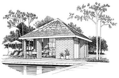 Poolside Cabana Plan - 137-1048 - Front Exterior