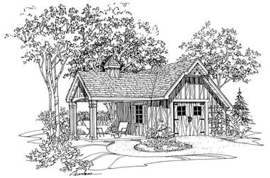 120 Sq Ft Barn-Style Shed Plan - 137-1050 - Front Exterior