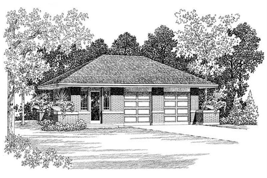 1-Bedroom, 294 Sq Ft Garage House Plan - 137-1051 - Front Exterior