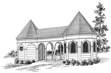 Changing Rooms Cabana, 560 Sq Ft Plan - 137-1052 - Front Exterior