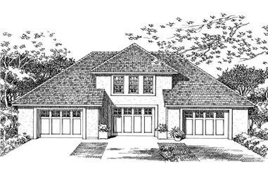 1-Bedroom, 1807 Sq Ft Garage House Plan - 137-1053 - Front Exterior