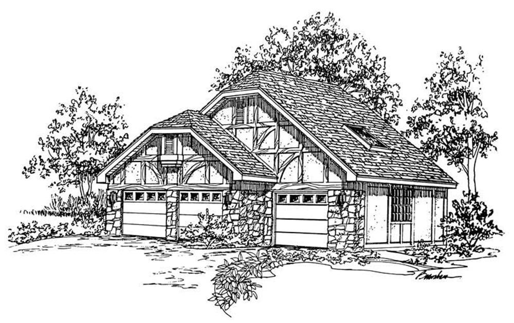 Rendering of Tudor style Garage plan (ThePlanCollection: House Plan #137-1055)