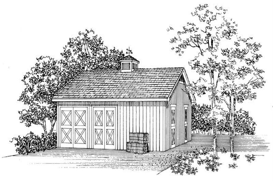 1-Bedroom, 832 Sq Ft Garage House Plan - 137-1056 - Front Exterior