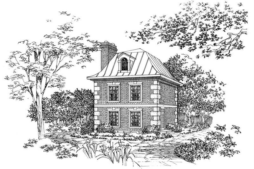 1-Bedroom, 763 Sq Ft European House Plan - 137-1057 - Front Exterior