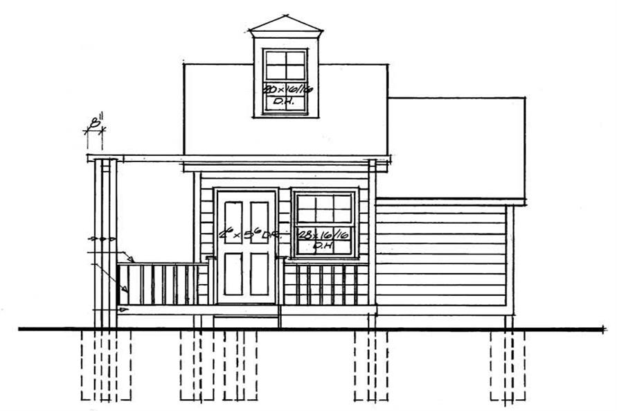 Home Plan Rear Elevation of this 1-Bedroom,183 Sq Ft Plan -137-1058