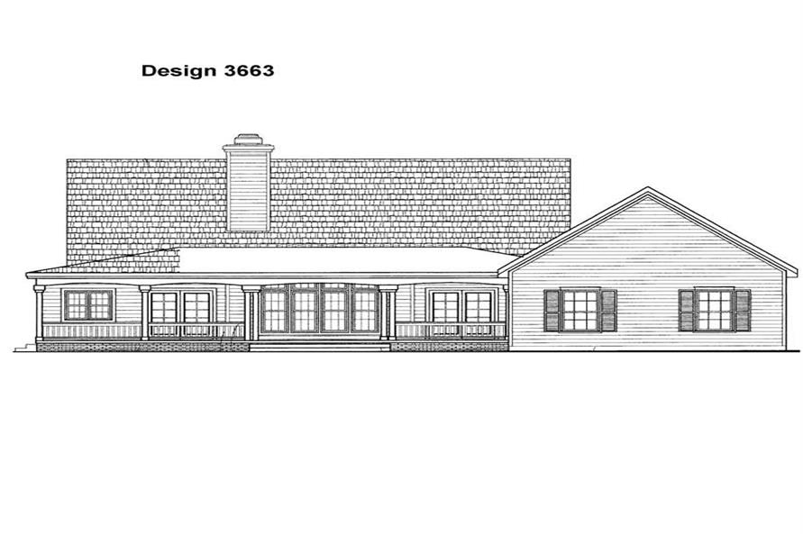 Home Plan Rear Elevation of this 3-Bedroom,2170 Sq Ft Plan -137-1059