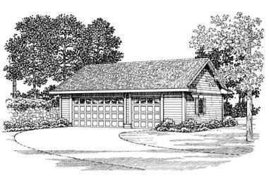 1-Bedroom, 876 Sq Ft Garage House Plan - 137-1061 - Front Exterior