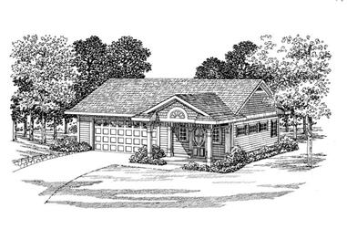 1-Bedroom, 861 Sq Ft Garage Home Plan - 137-1062 - Main Exterior