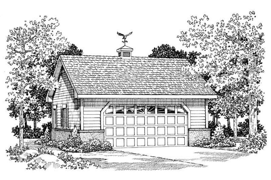 1-Bedroom, 600 Sq Ft Garage Home Plan - 137-1064 - Main Exterior