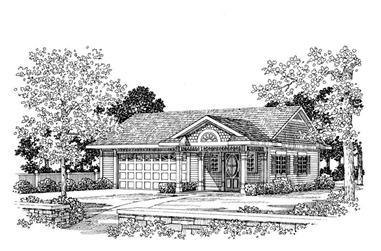 861 Living Sq Ft Garage Plan with Home Office - 137-1066 - Front Exterior