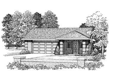 1-Bedroom, 876 Sq Ft Garage House Plan - 137-1067 - Front Exterior