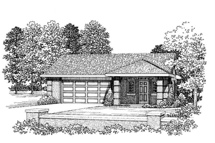 1-Bedroom, 876 Sq Ft Garage House Plan - 137-1067 - Front Exterior