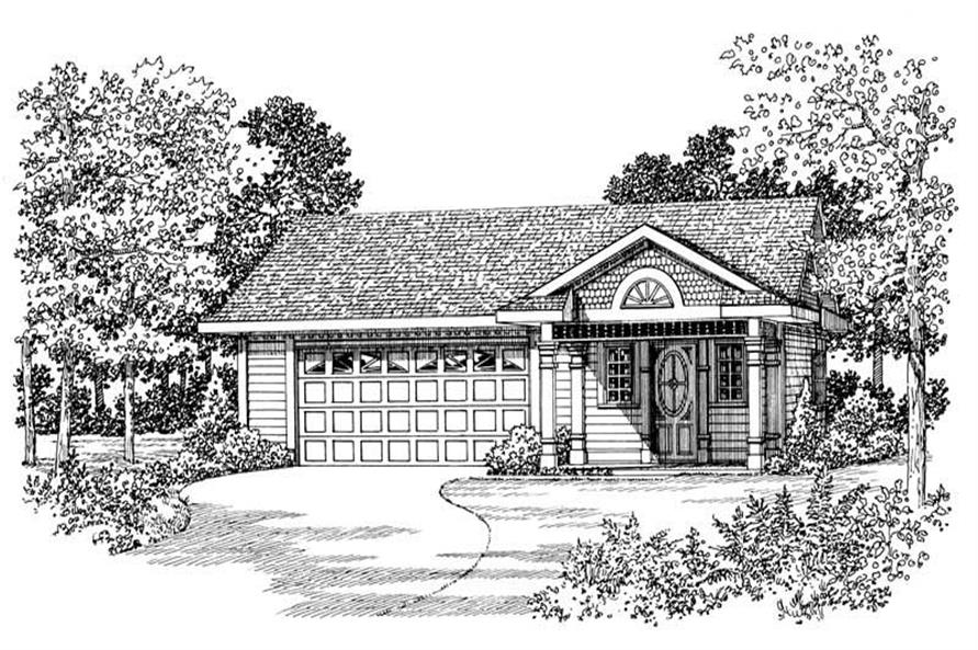 1-Bedroom, 876 Sq Ft Garage House Plan - 137-1068 - Front Exterior