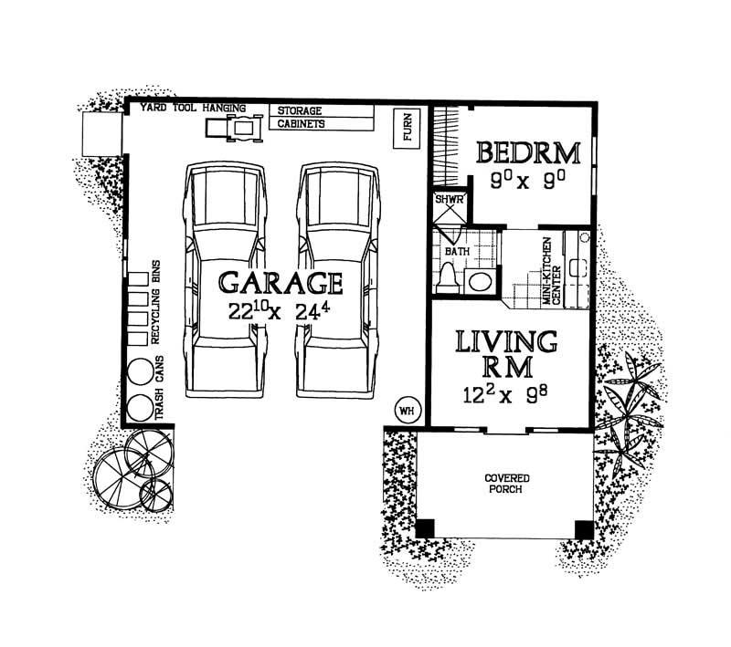 Plan W2225sl One Story Garage Apartment: Home Design HW-G283 # 18843