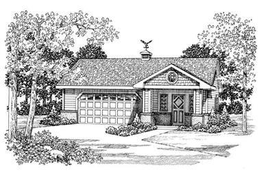 1-Bedroom, 876 Sq Ft Garage House Plan - 137-1072 - Front Exterior