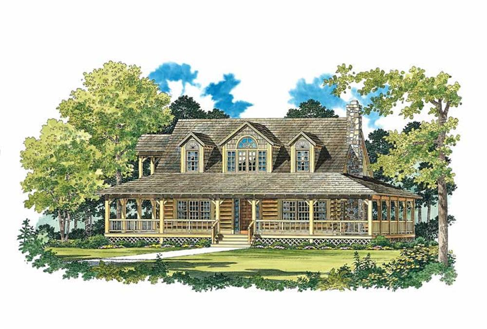 Log House Plans Front Elevation.