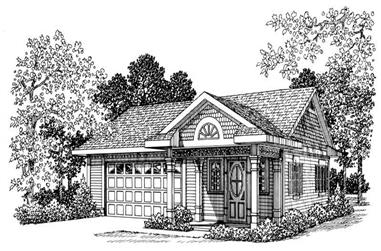 Office with 861 Sq Ft Plus 2-Car Garage Plan - 137-1074 - Front Exterior