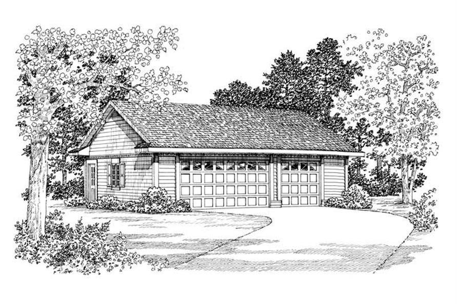 1-Bedroom, 900 Sq Ft Garage Home Plan - 137-1076 - Main Exterior