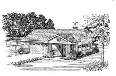 1-Bedroom, 861 Sq Ft Garage Home Plan - 137-1078 - Main Exterior