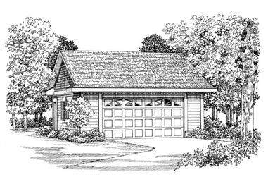 2-Car, 600 Sq Ft Garage Plan - 137-1080 - Main Exterior