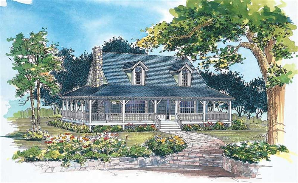 Front elevation of Country home (ThePlanCollection: House Plan #137-1081)