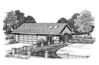 1-Bedroom, 876 Sq Ft Garage House Plan - 137-1082 - Front Exterior