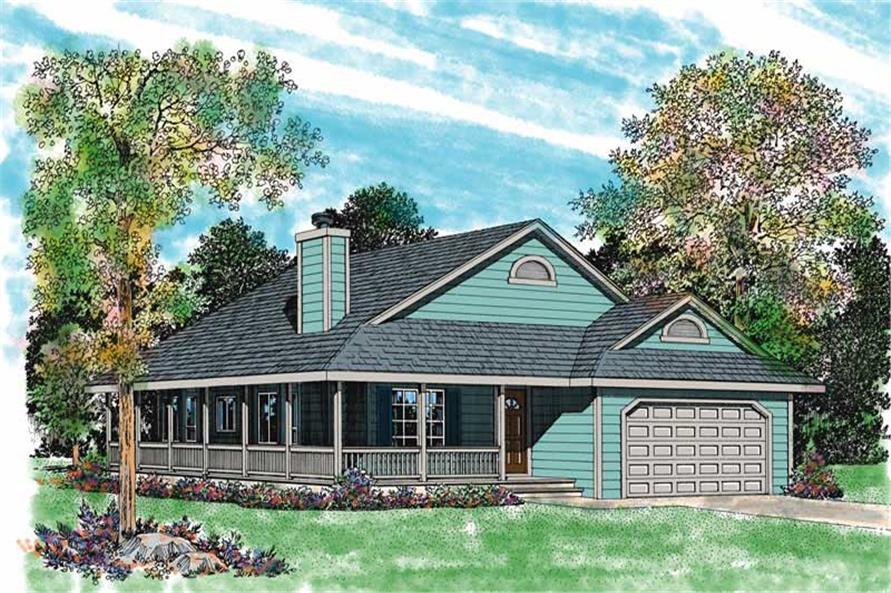 3-Bedroom, 1646 Sq Ft Country House Plan - 137-1084 - Front Exterior