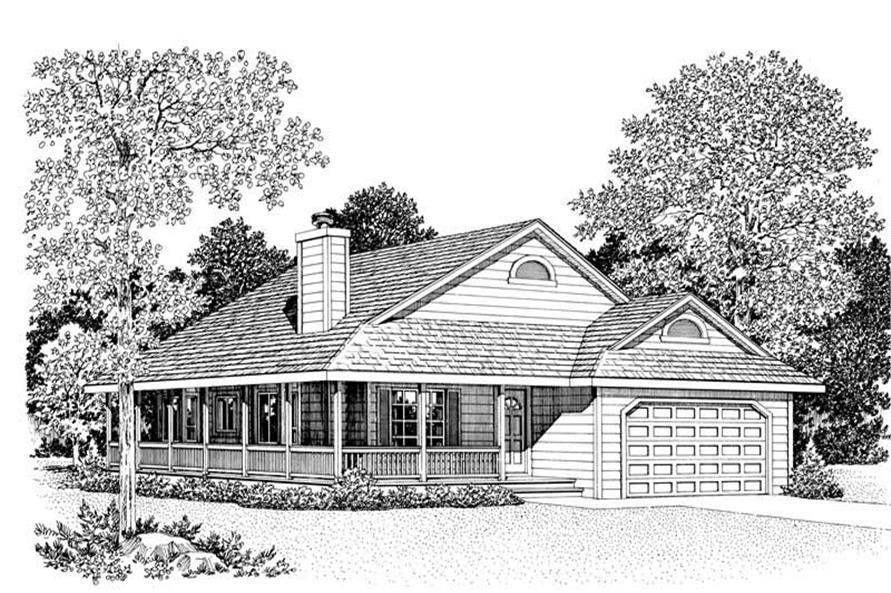 Home Plan Front Elevation of this 3-Bedroom,1646 Sq Ft Plan -137-1084