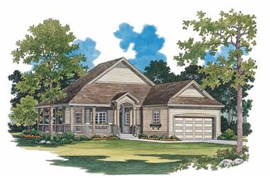 2-Bedroom, 1295 Sq Ft Country House Plan - 137-1085 - Front Exterior