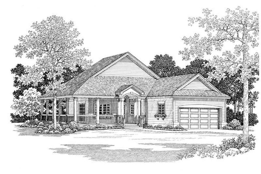Home Plan Front Elevation of this 2-Bedroom,1295 Sq Ft Plan -137-1085