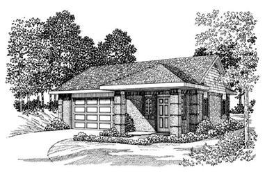 900 Sq Ft Office Plus Garage Plan - 137-1087 - Front Exterior