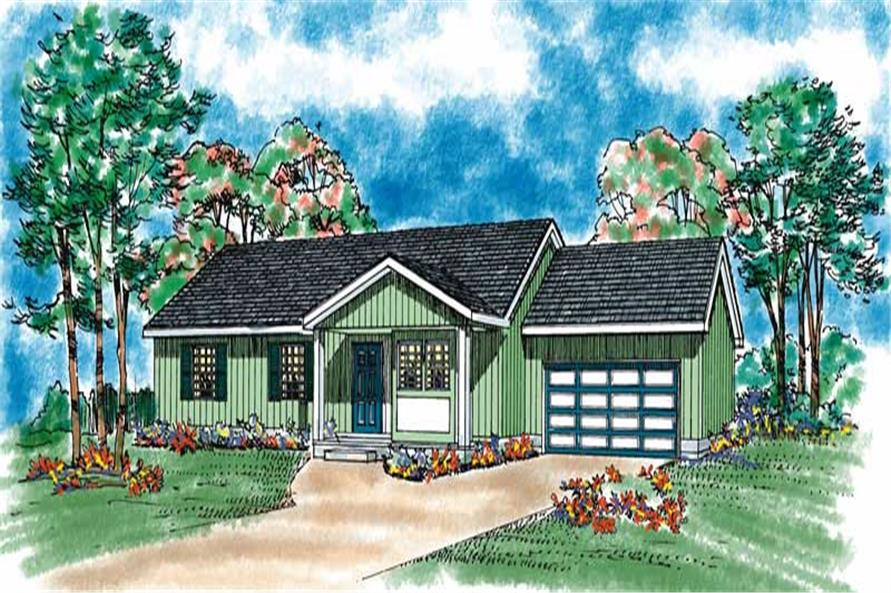 3-Bedroom, 1130 Sq Ft Country Home Plan - 137-1088 - Main Exterior