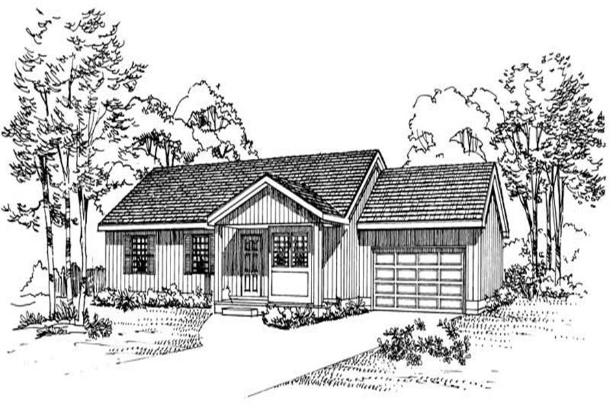 Home Plan Front Elevation of this 3-Bedroom,1130 Sq Ft Plan -137-1088