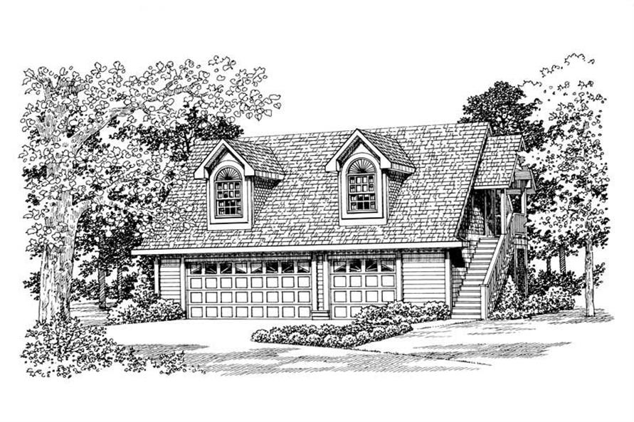 1-Bedroom, 1590 Sq Ft Garage Home Plan - 137-1093 - Main Exterior