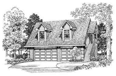 1-Bedroom, 1590 Sq Ft Garage Home Plan - 137-1095 - Main Exterior