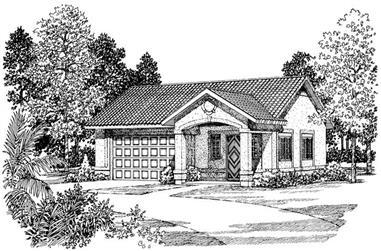 1-Bedroom, 861 Sq Ft Garage House Plan - 137-1099 - Front Exterior