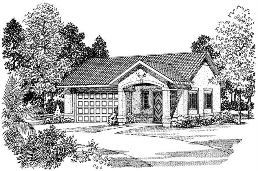 1-Bedroom, 861 Sq Ft Garage House Plan - 137-1099 - Front Exterior