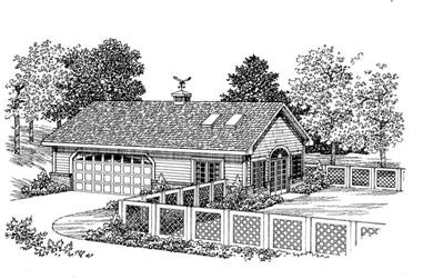 1-Bedroom, 876 Sq Ft Garage House Plan - 137-1101 - Front Exterior
