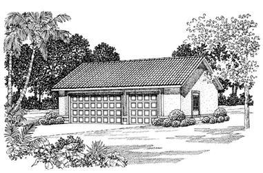 1-Bedroom, 876 Sq Ft Garage House Plan - 137-1102 - Front Exterior
