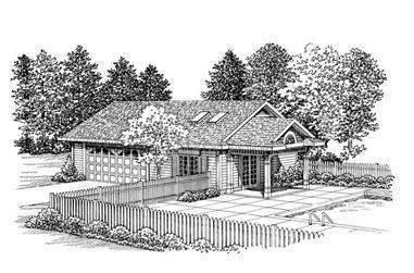 1-Bedroom, 1008 Sq Ft Garage House Plan - 137-1103 - Front Exterior
