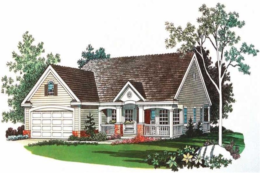 Home Plan Front Elevation of this 2-Bedroom,1118 Sq Ft Plan -137-1104